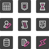 Database web icons, grey square buttons series poster