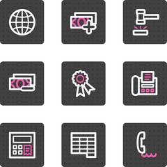 Finance web icons, grey square buttons series set 2