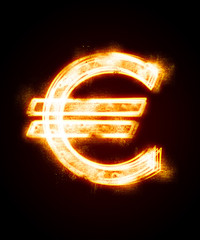 conflagrant luminous sign of euro