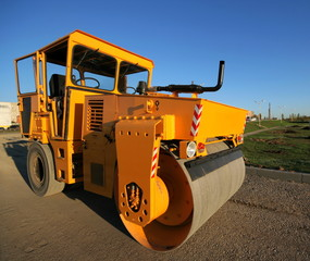 Orange road-roller