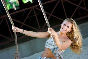 Lady on swings
