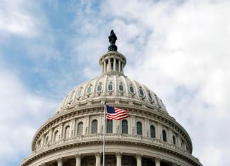 US Capitol rotunda and flag