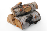 A stack of birch firewood with clipping path poster