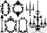antique picture frames and crystal chandelier, vector