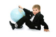 little schoolboy with a globe