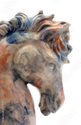 Lovely profile of a marble surfaced horse head.