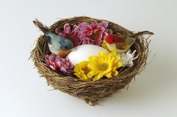 Nido con fiori uccelli e uovo