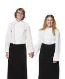 Waiter and a waitress holding hands poster