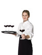 Waitress with a tray of wineglasses