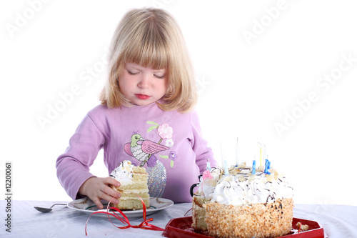 Girl with birthday cake isolated on white Poster