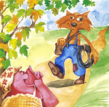 Fairytale illustration of miss pig and plumber fox poster