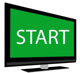 Icono de pantalla con el símbolo de start