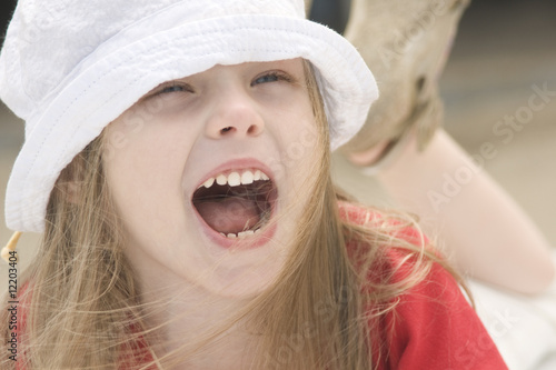 Portrait of a shouting beautiful girl