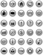 Grey glass web icons