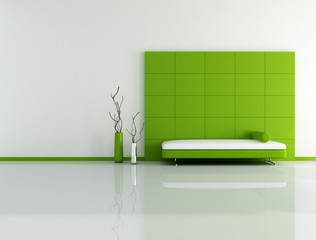 minimal green living room