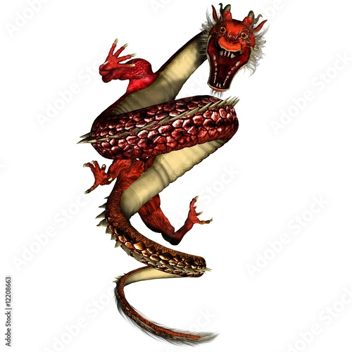 Red Angry Dragon Coiled to Strike