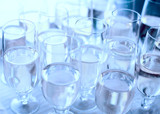 Flutes of champagne waiting for guests, toned, soft focus poster