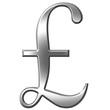 3D Silver Pound Symbol