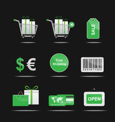 shopping icon set green