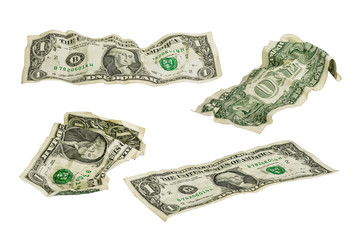 crumpled one dollar banknotes #2