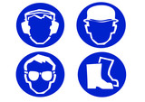 blue construction site safety signs