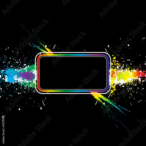 Color paint splashes border. Gradient vector background