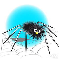 Black spider and spiderweb - Kids illustration