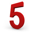 Number Five on White Background