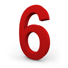 Number Six on White Background