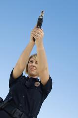 Police Officer Aiming Pistol