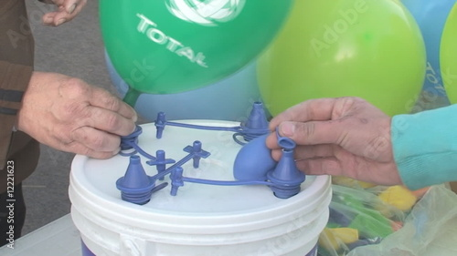 Filling balloons for a party