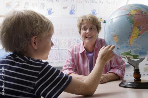 Little Boy Learning Geography