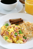 Breakfast  - Scrambled Eggs, Sausage and Coffee poster