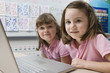 Little Girls Using a Laptop