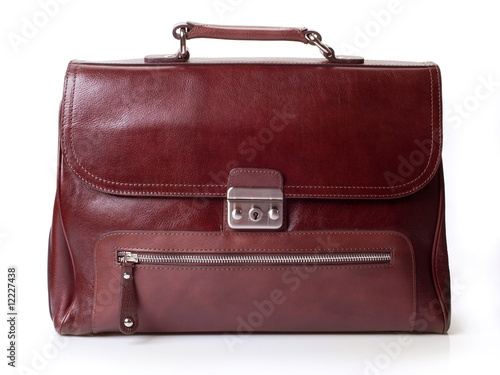 Poster The reg leather man's bag on white background