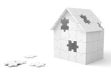 House built out of puzzle pieces poster