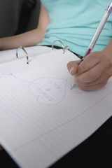 Girl Drawing Heart Shape with Crush's Name