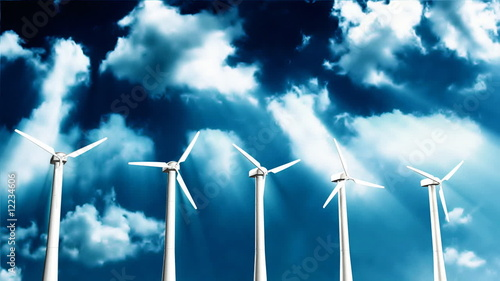 Wind Turbines with tine lapse clouds,Alpha Channel