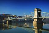 Chain bridge on Danube river, Budapest, Hungary poster