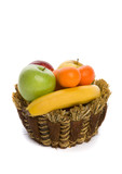 Fresh fruit in a braided basket poster