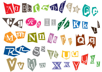 Alphabet letters in pieces
