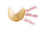 CONGRATULATIONS! - backlit single fortune cookie over white poster