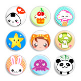 Set of badges with the kawaii (cute) japanese style characters poster