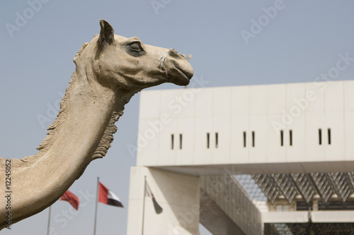 Dubai, UAE, A statue of a camel is on display outside the Dubai Municipality headquarters building .