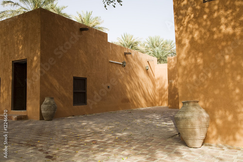 al ain, uae, partial view of courtyard at al ain palace museum