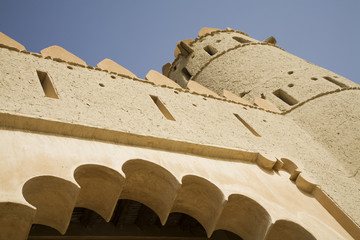 al ain, uae, architectural detail of front entrance of al jahli fort in al ain