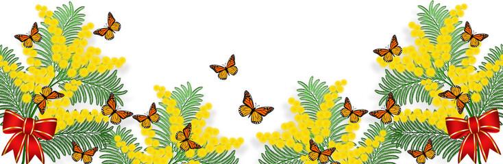 Banner orizzontale con mimosa e farfalle