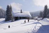 Fototapety Ferienhaus in den verschneiten Alpen
