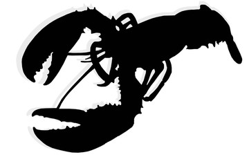 silhouette of lobster isolate
