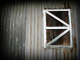 grunge zinc wall with wooden window